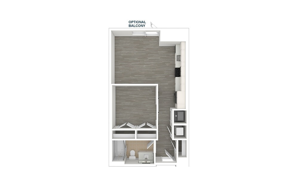 JA1 - 1 bedroom floorplan layout with 1 bath and 565 square feet. (3D)