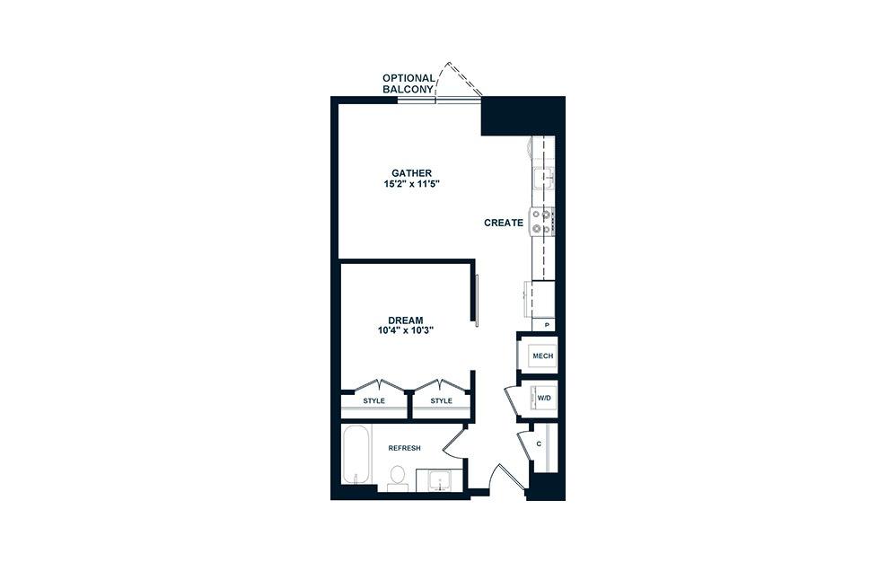 JA1 - 1 bedroom floorplan layout with 1 bath and 565 square feet. (2D)
