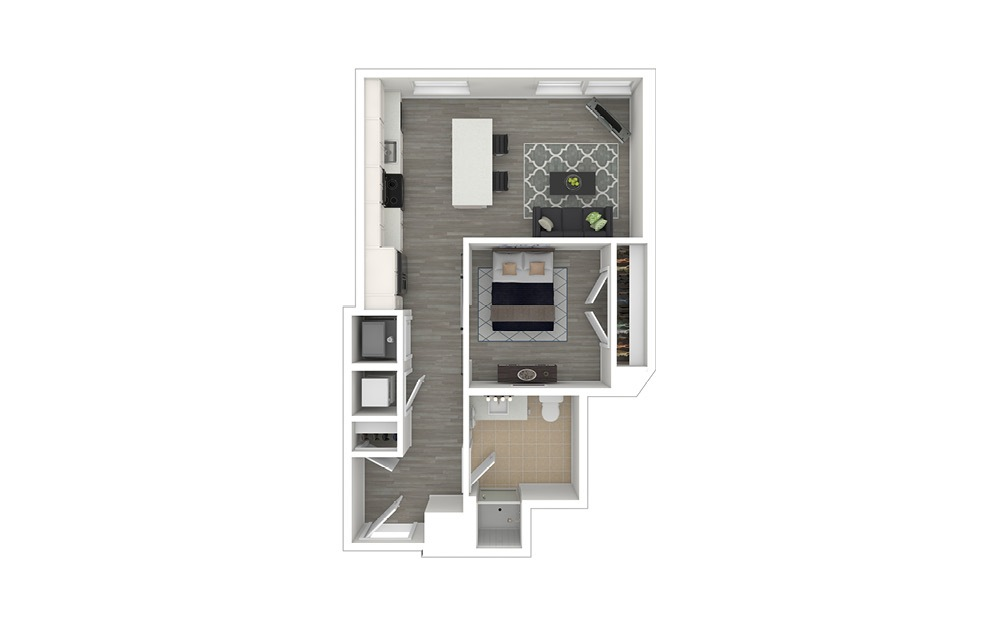 JA2.ANSI - 1 bedroom floorplan layout with 1 bath and 567 to 570 square feet. (3D Furnished)