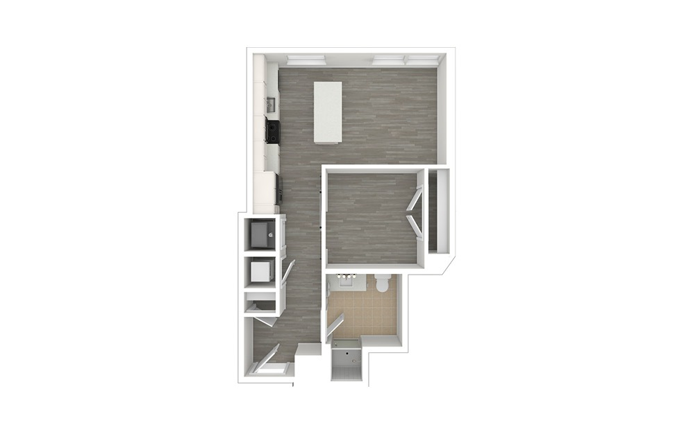 JA2.ANSI - 1 bedroom floorplan layout with 1 bath and 567 to 570 square feet. (3D)