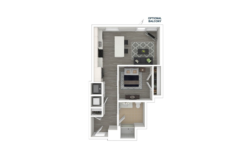 JA2 - 1 bedroom floorplan layout with 1 bath and 567 square feet. (3D Furnished)
