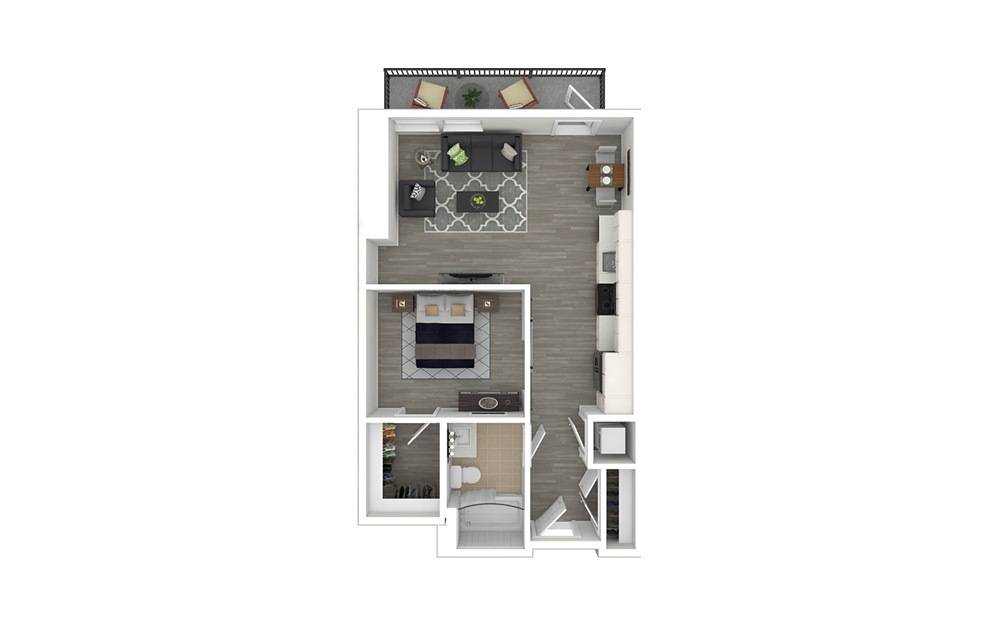 JA3 - 1 bedroom floorplan layout with 1 bath and 594 to 600 square feet. (3D Furnished)