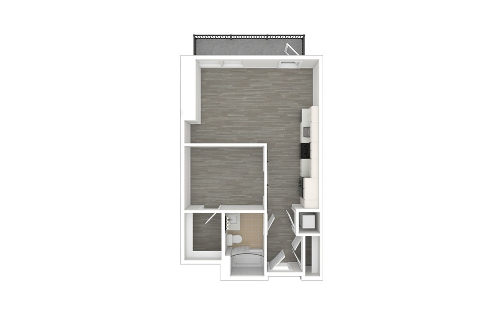 JA3 - 1 bedroom floorplan layout with 1 bath and 594 to 600 square feet. (3D)