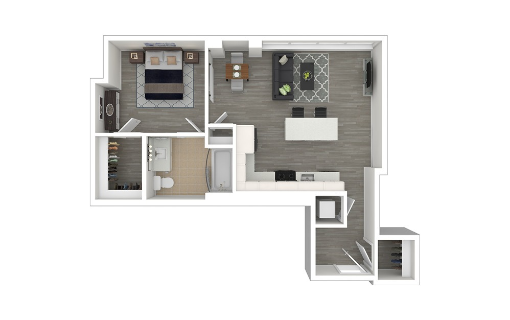 JA4.ANSI - 1 bedroom floorplan layout with 1 bath and 654 square feet. (3D Furnished)