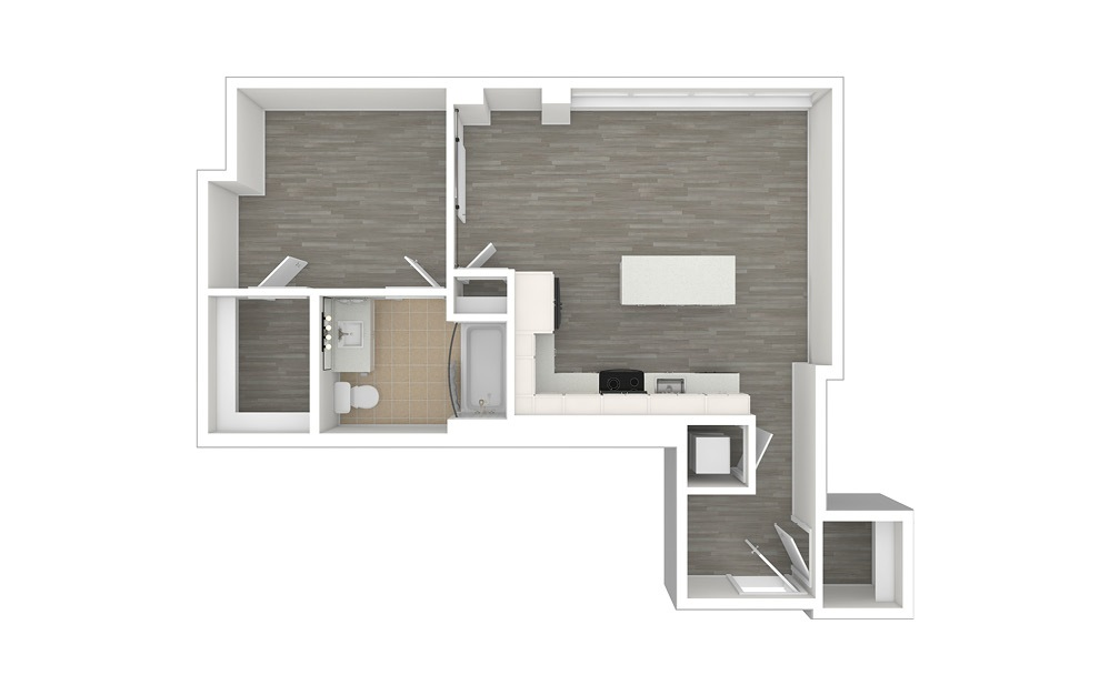 JA4.ANSI - 1 bedroom floorplan layout with 1 bath and 654 square feet. (3D)
