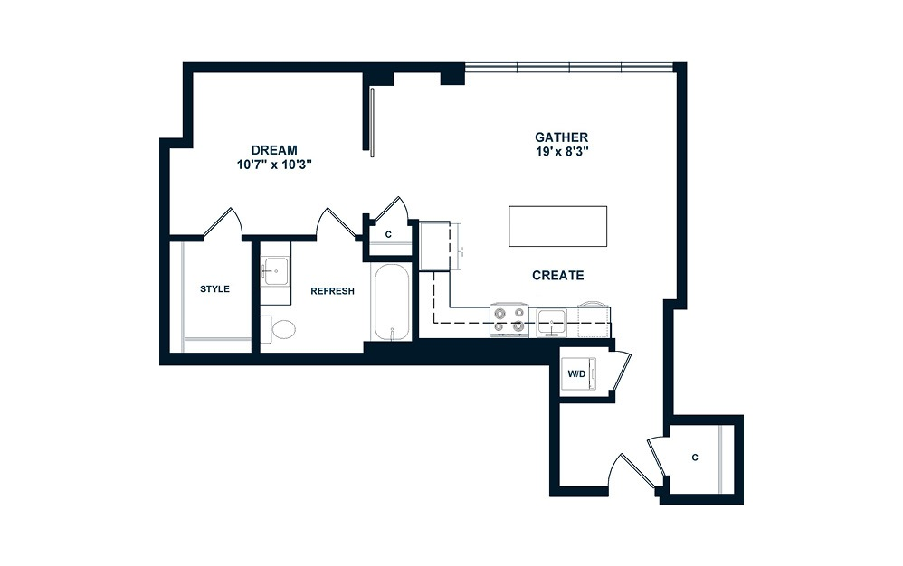 JA4.ANSI - 1 bedroom floorplan layout with 1 bath and 654 square feet. (2D)