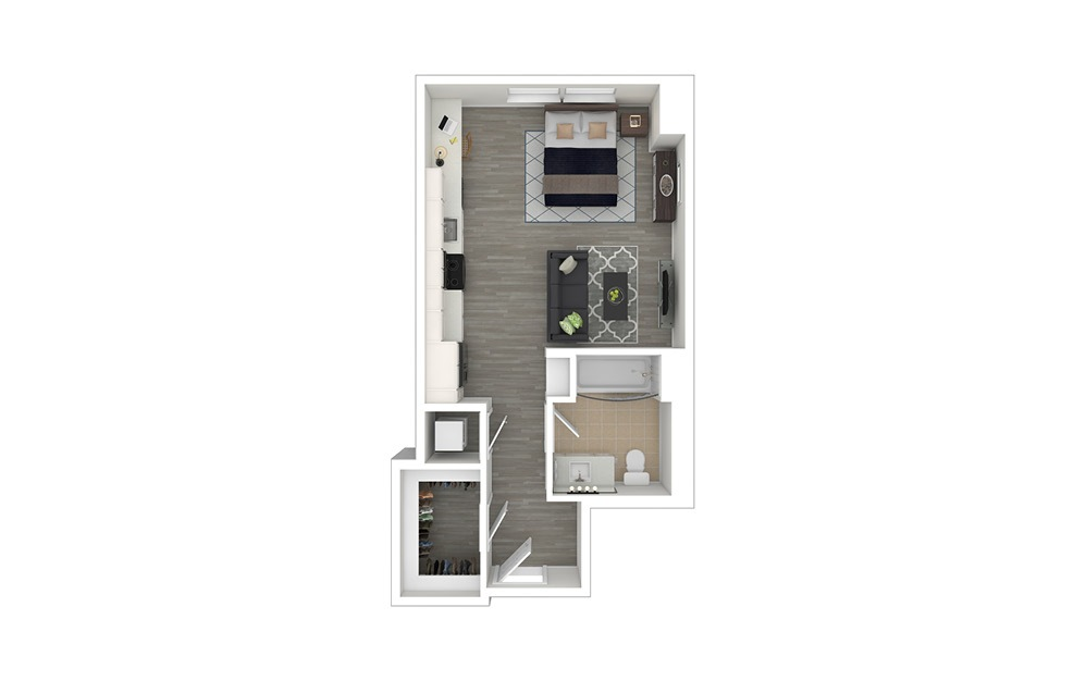 S1 - Studio floorplan layout with 1 bath and 470 to 479 square feet. (3D Furnished)