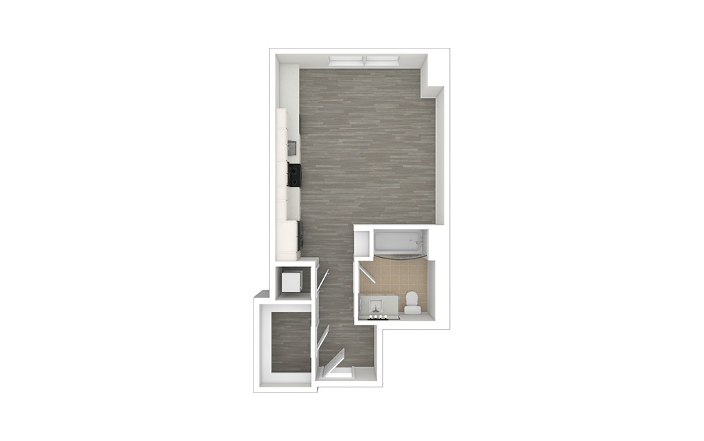S1 - Studio floorplan layout with 1 bath and 470 to 479 square feet. (3D)