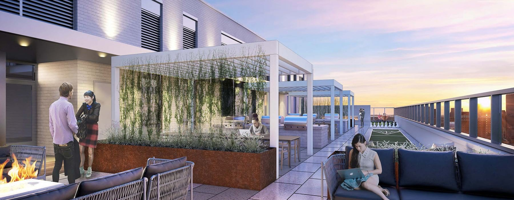 Rooftop pool and community lounge space