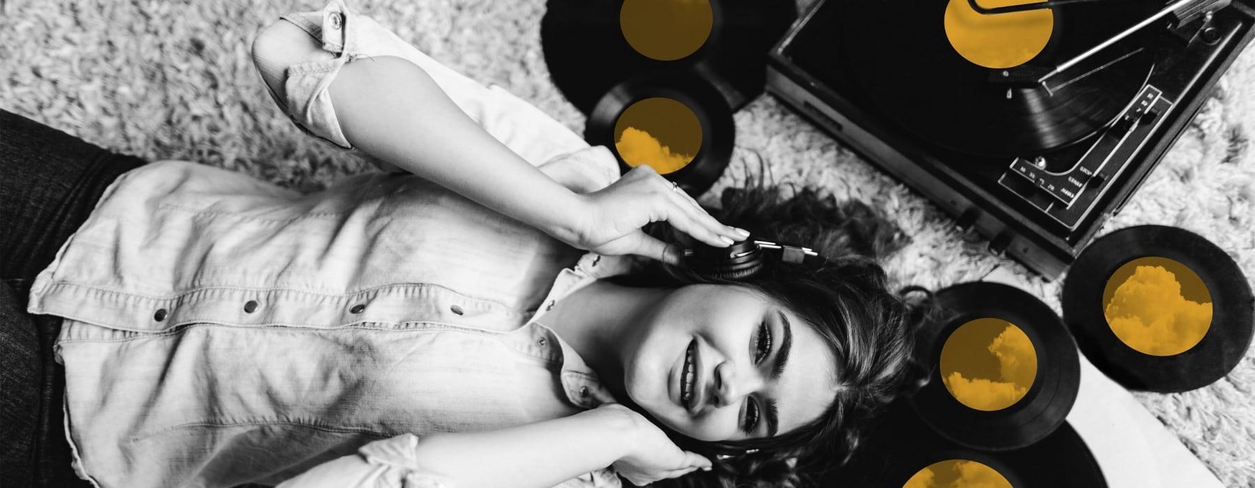 woman listening to records - j sol apartments arlington virginia