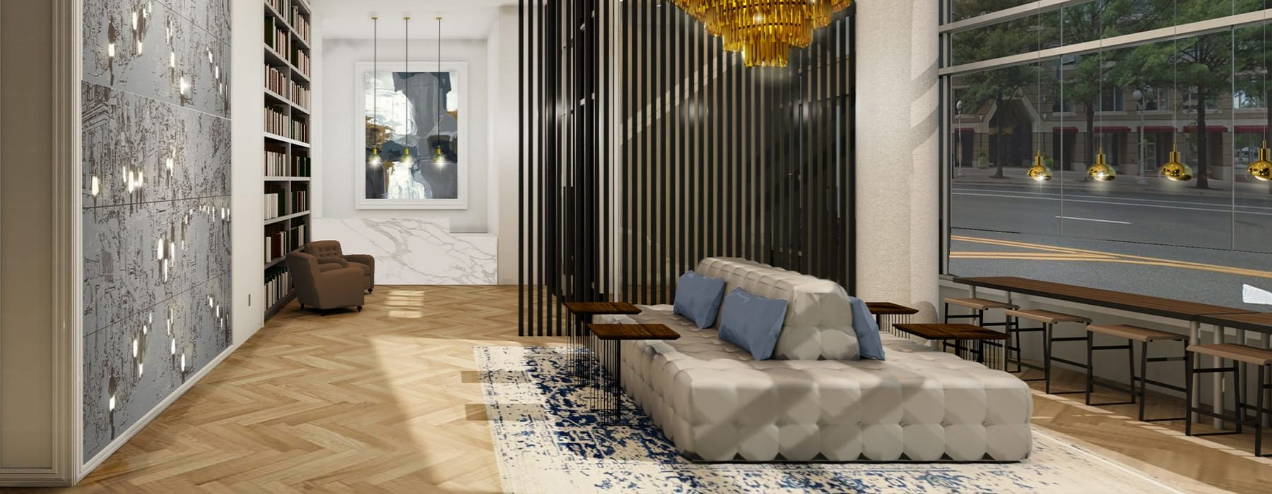 Lobby Space With Seating Area At J Sol Apartments In Arlington, VA