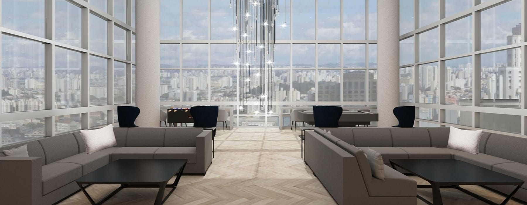 J Sol lobby space with wall-to-wall windows and lounge seating